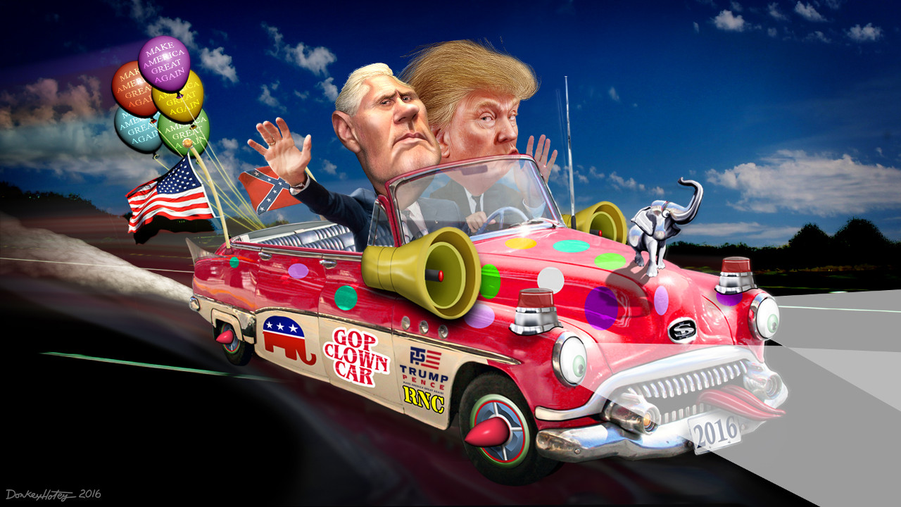 Trump-Pence Clown Car 2016. Credit: DonkeyHotey, https://www.flickr.com/photos/donkeyhotey/27710741704/
